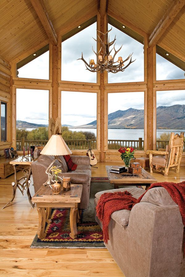 Rustic cabin interior design ideas for Large windows for homes