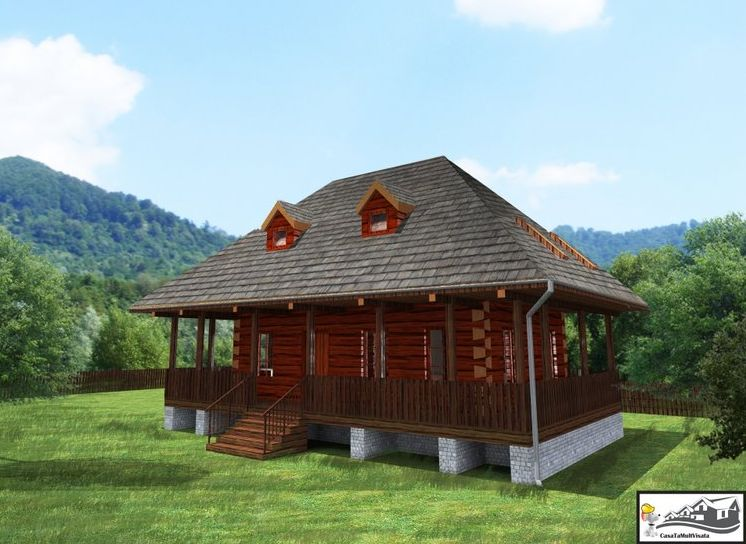 Romanian wooden houses in the countryside