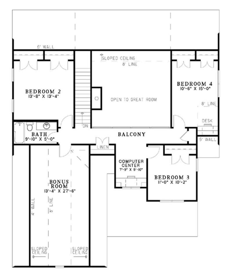 House plans with bonus rooms upstairs for Upstairs floor plans