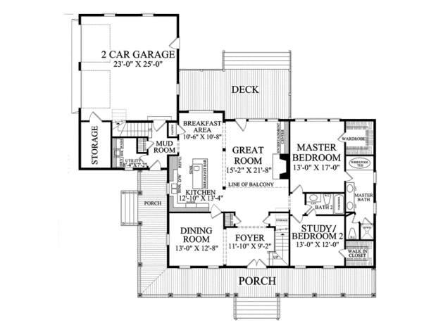 One story house plans with porch for Two story porch house plans