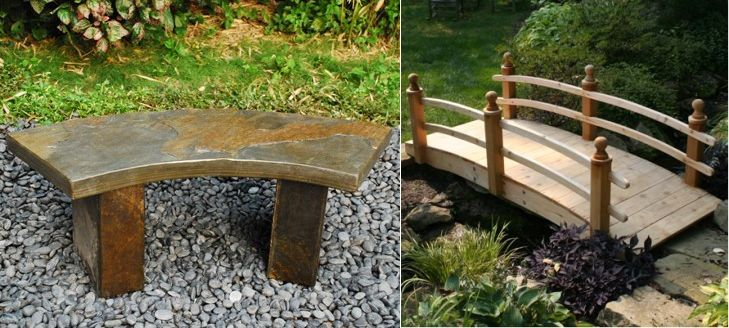 Japanese style garden furniture for relaxation