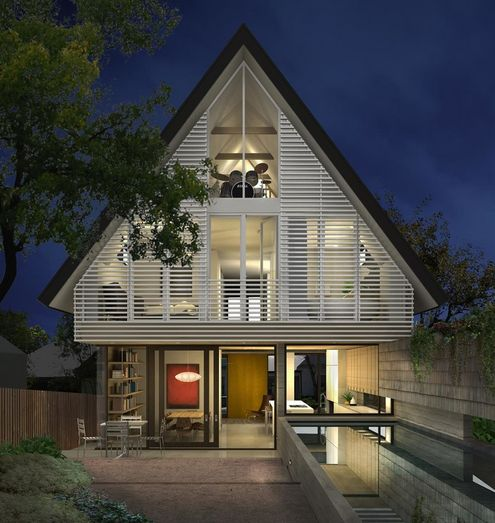 Attic homes exterior design in the city