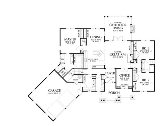 One story craftsman house plans for Craftsman style open floor plans