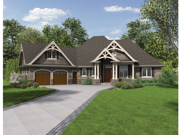 One Story Craftsman House Plans U2013 The Columned Entry House