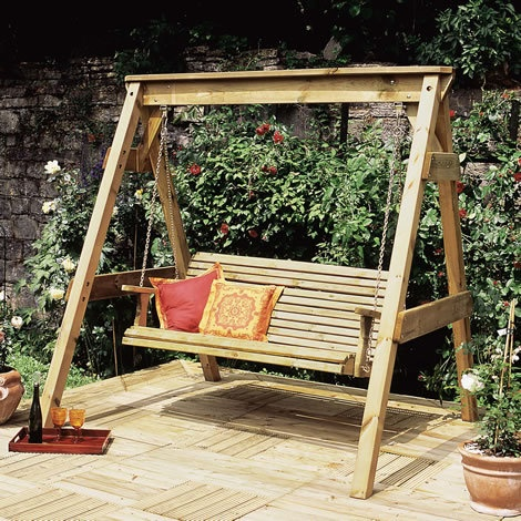 Wooden garden swing seat plans for the family