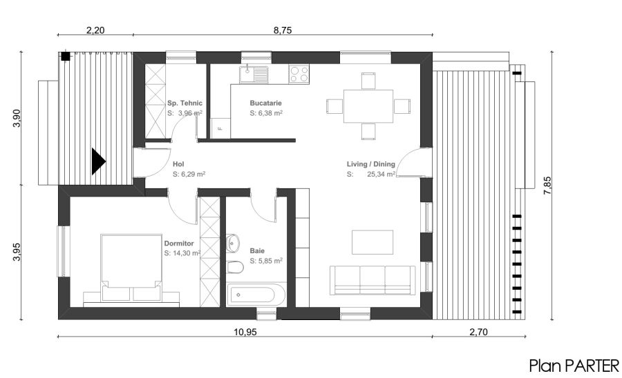 Small one room house plans for Five room house plan