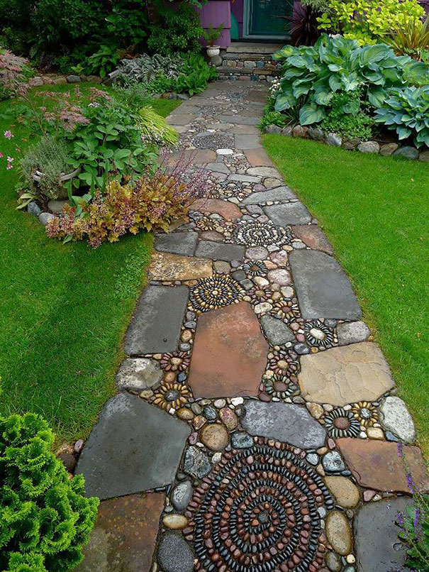 River stone walkway ideas in the garden