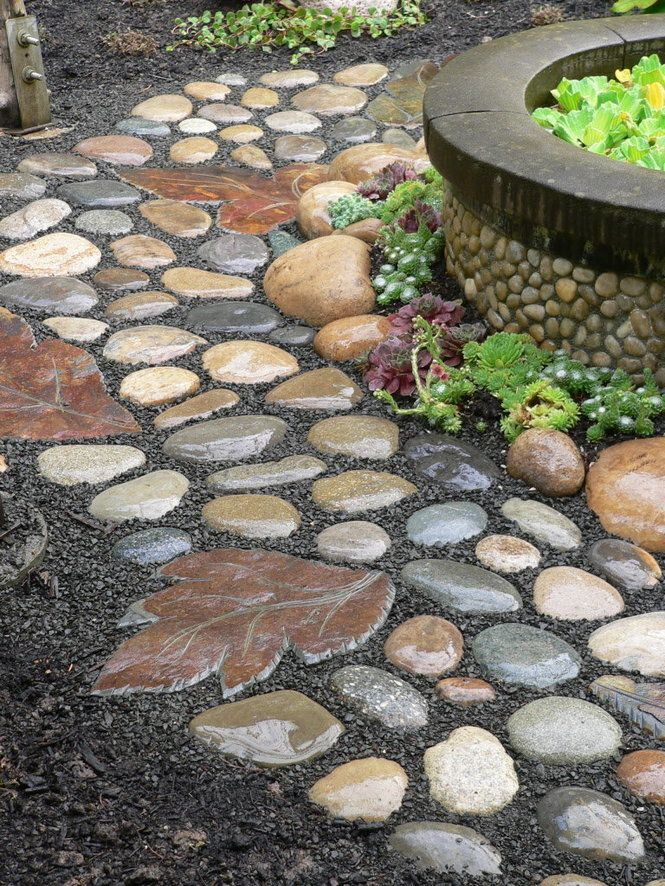 River stone walkway idea seven diy projects for Cement garden paths