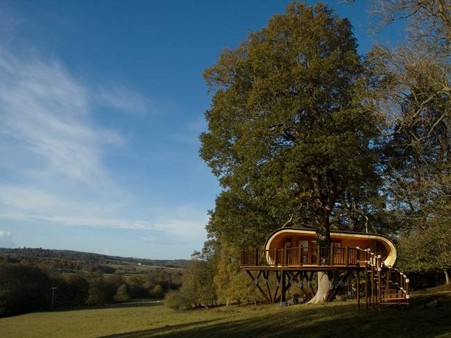 The pre-fab treehouse is fantastic