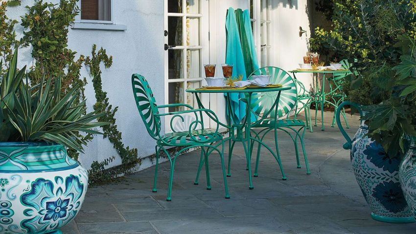 Wrought iron furniture for patio and garden