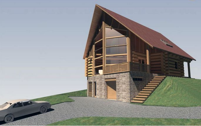 Wood and rock house plans for the family