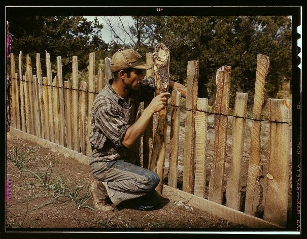 Rustic wood fences in the garden