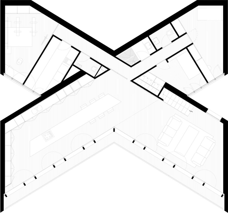 Proiecte de case in forma de X X shaped house plans 6