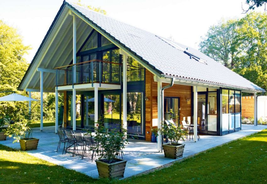 German style house plans open design for Glass home plans
