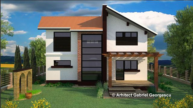 Proiecte de case cu etaj si terasa acoperita Two story house plans with covered patios 5
