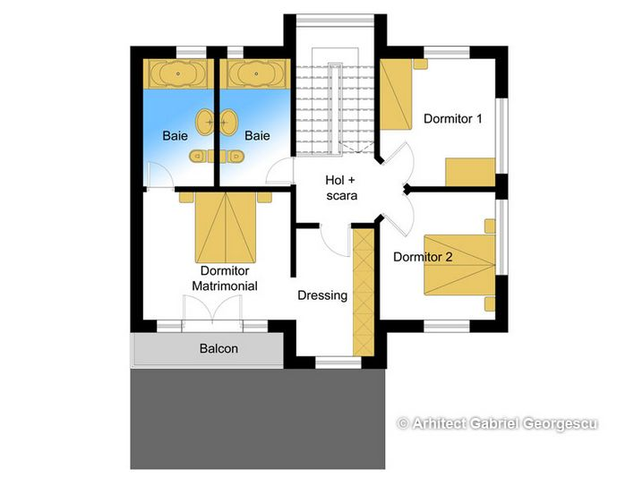 Proiecte de case cu etaj si terasa acoperita Two story house plans with covered patios 7