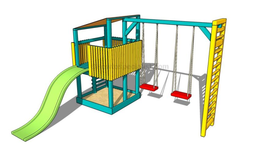 How to build an outdoor wooden playground in the garden