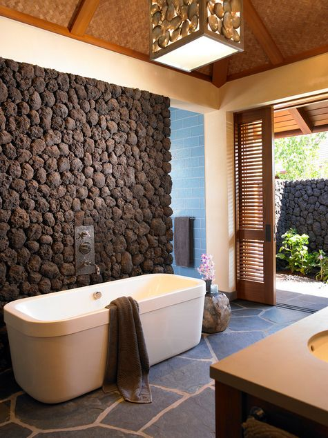 Decorative stone for bathrooms at home