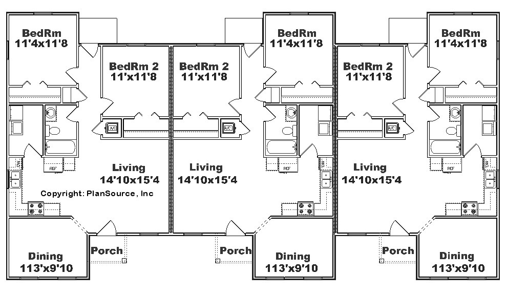 Triplex house plans cost cutting living for One level living floor plans