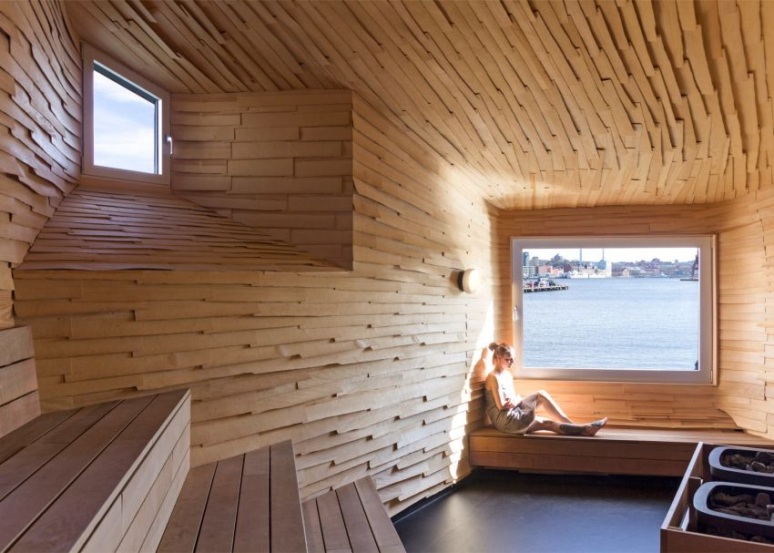 The industrial-looking sauna in Goteborg