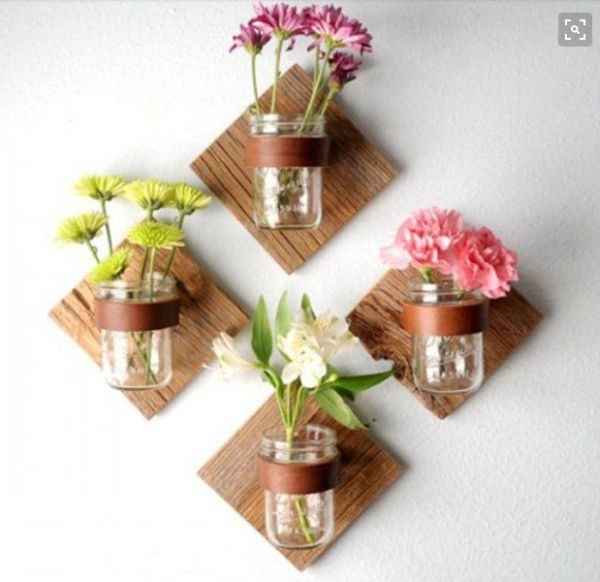 vaze din borcane facute in casa Mason jar flower vases