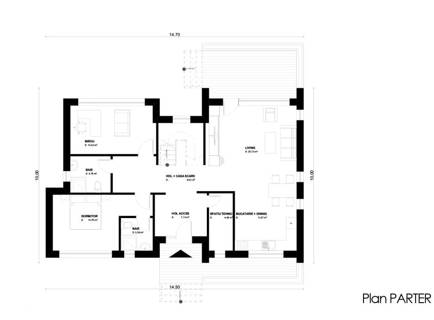 case cu terasa in spate Back patio house plans 3