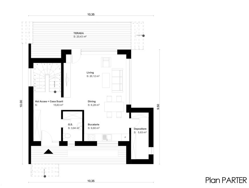 case cu terase din sticla House plans with glass terrace 11