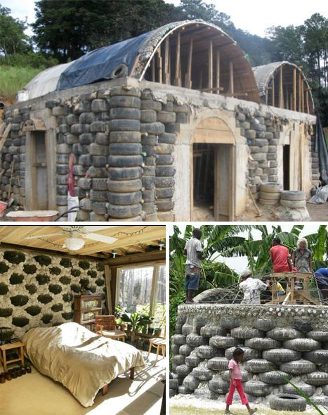 Houses made of used tires and recycled
