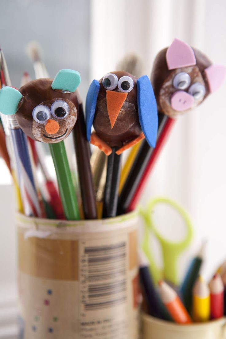 Conker pencil tops Red Ted Art