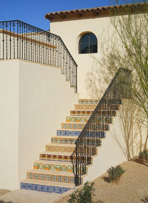 Exterior wrought iron stair railings for home