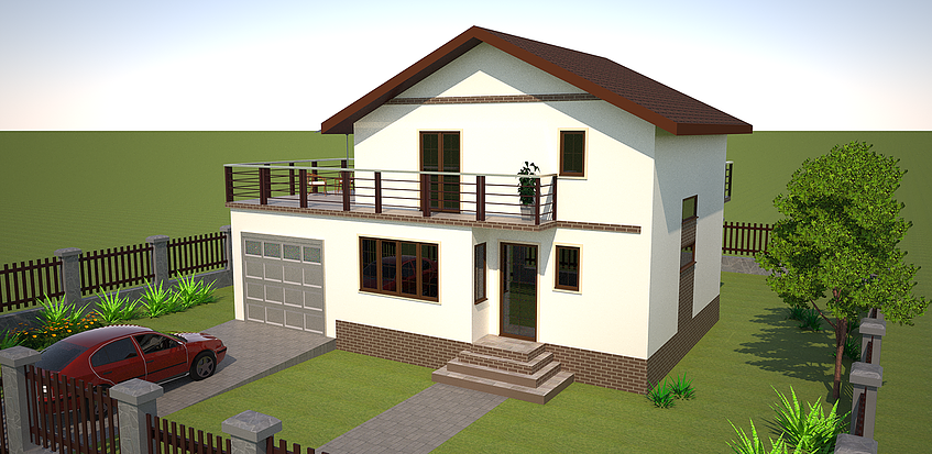 Houses with second floor terrace outside