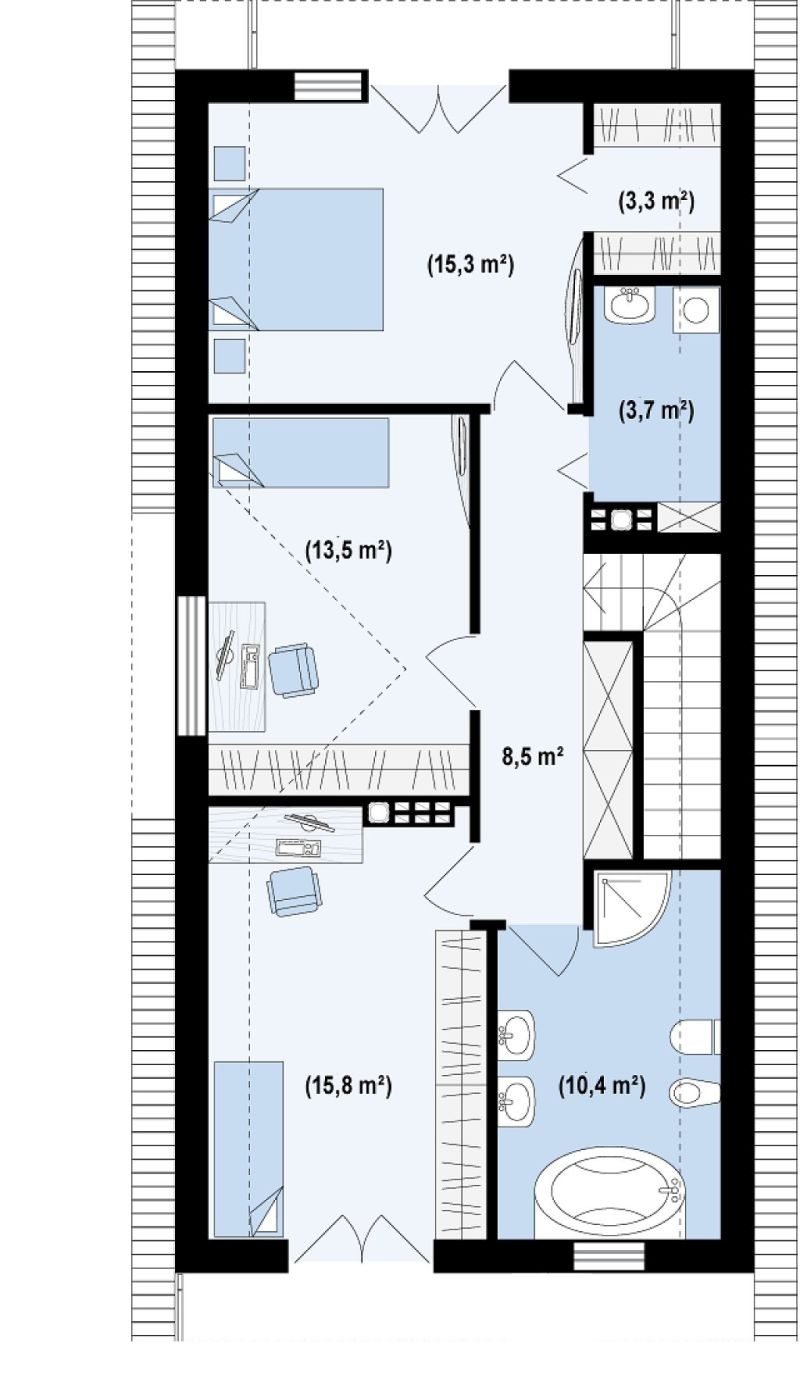 case cu terasa la etaj Houses with second floor terrace 5