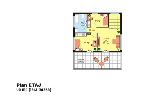 case cu terasa la etaj Houses with second floor terrace 9