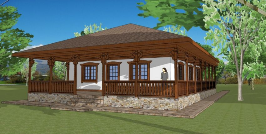 case cu veranda din lemn Wood porch house plans 6