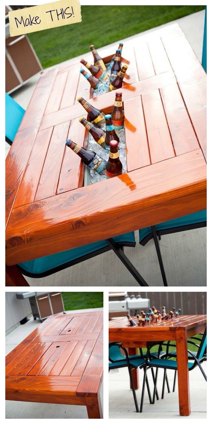 Outdoor wooden tables are great