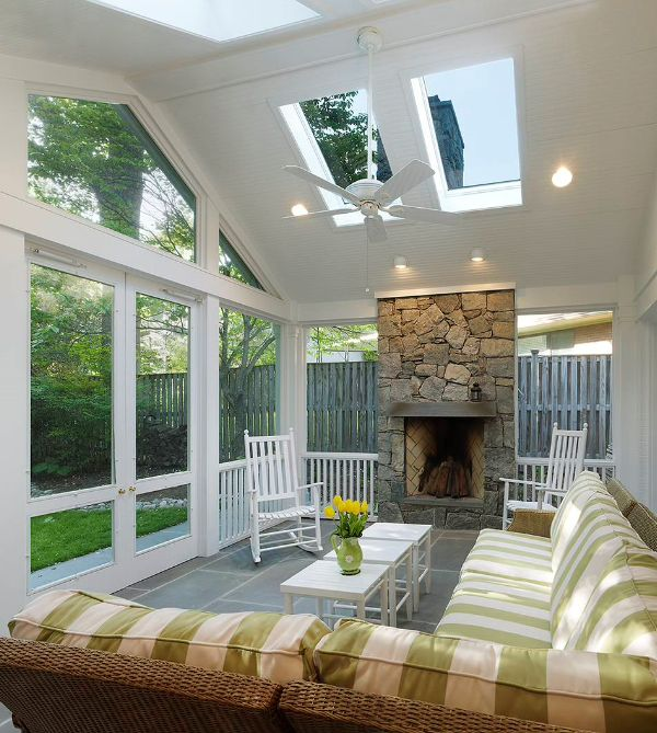 Screened in wood porches are elegant