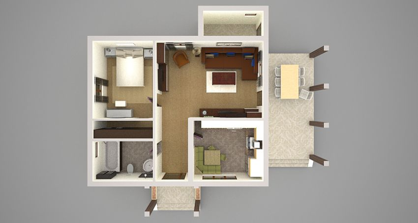 Square Meter Floor Plan Living Dining And Kitchen Area