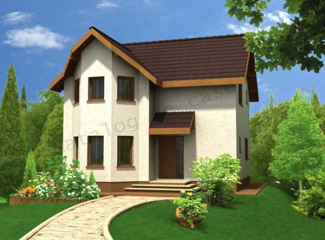 Two bedroom small house plans – a beautiful bow window home