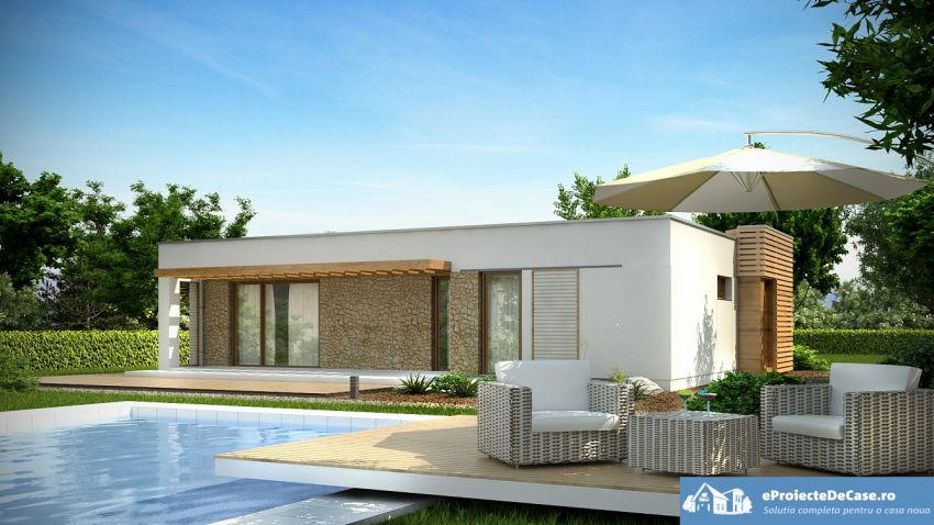 proiecte de case moderne pe un singur nivel Single level modern house plans 4