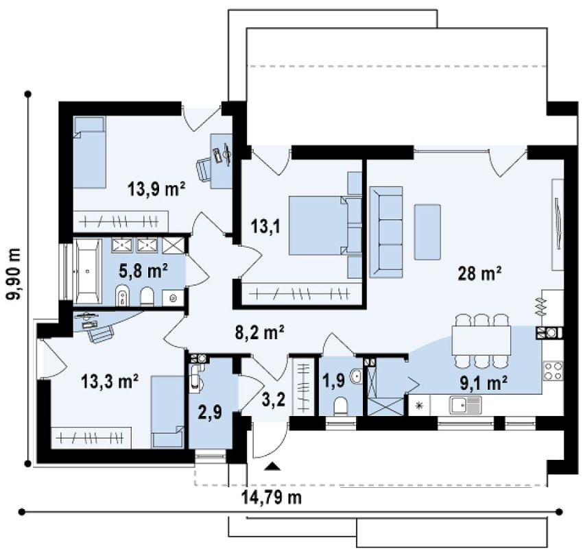 Single level modern house plans open spaces houz buzz for Modern house design 100 sqm