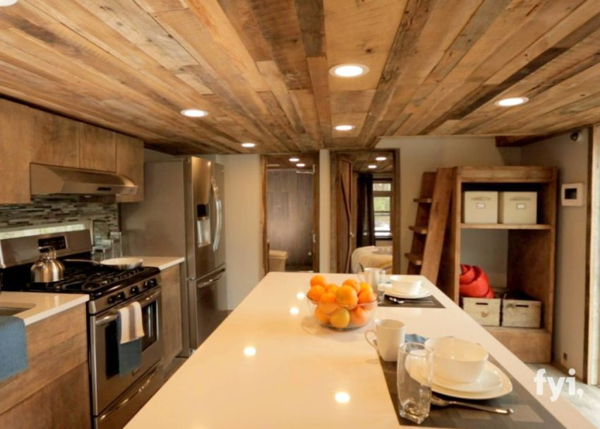 The modern tiny house two bedrooms one of them in a well lit loft and a modern kitchen