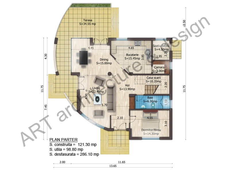Three story house layout