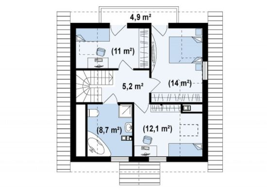 Four room attic house plans plenty of space houz buzz for Four room house plan