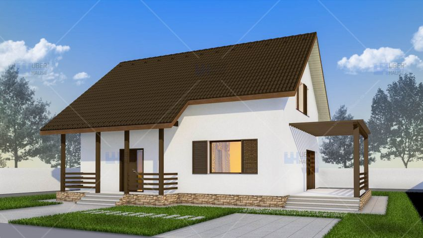 Covered patio small house plans houz buzz for Modele case mici cu mansarda