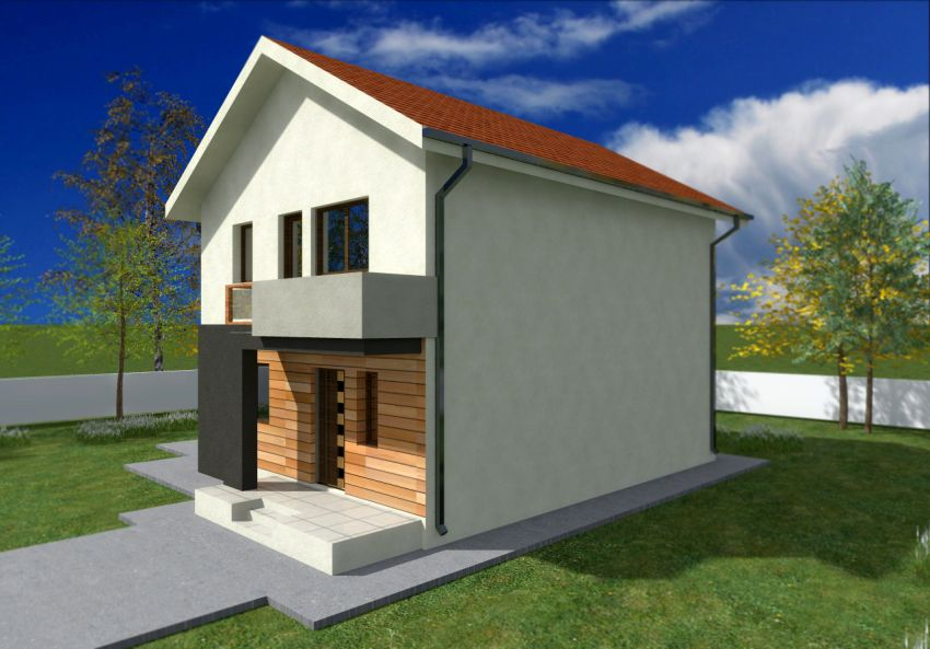 Small two story house plans with balcony joy studio for Small 1 1 2 story house plans
