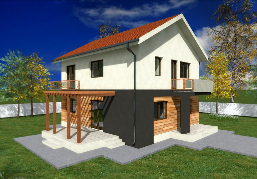 Small two story house plans with balconies joy studio for 2 storey small house design