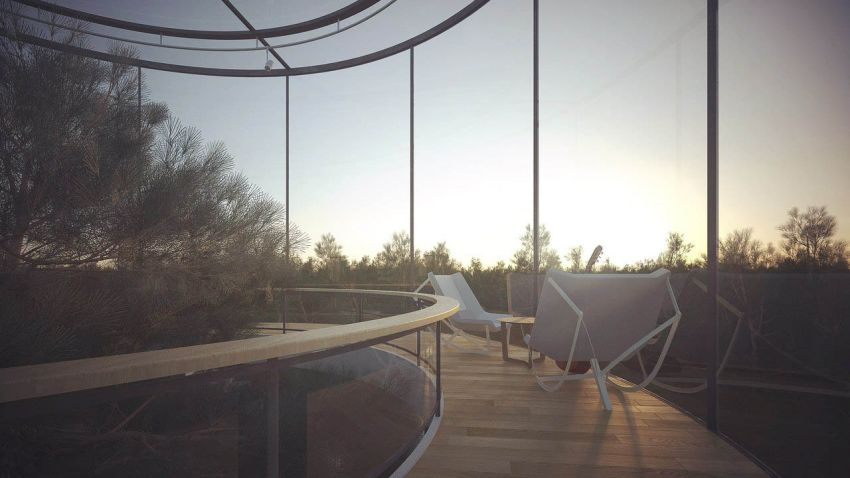 casa din tubul de sticla The tubular glass house 5