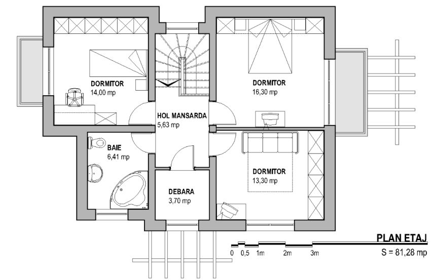 Small three bedroom house plans ideal spaces houz buzz for Three room house plan