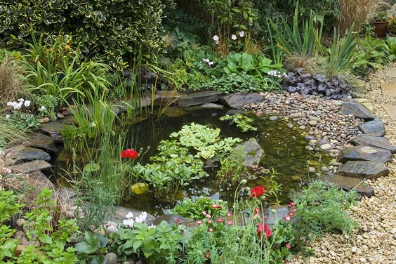 15 charming garden pond design ideas houz buzz for Making ponds for a garden