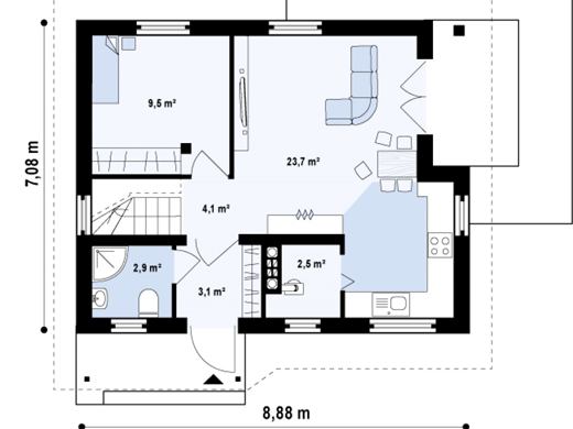 Attic houses under 100 square meters houz buzz for 100 sq meters house floor plan